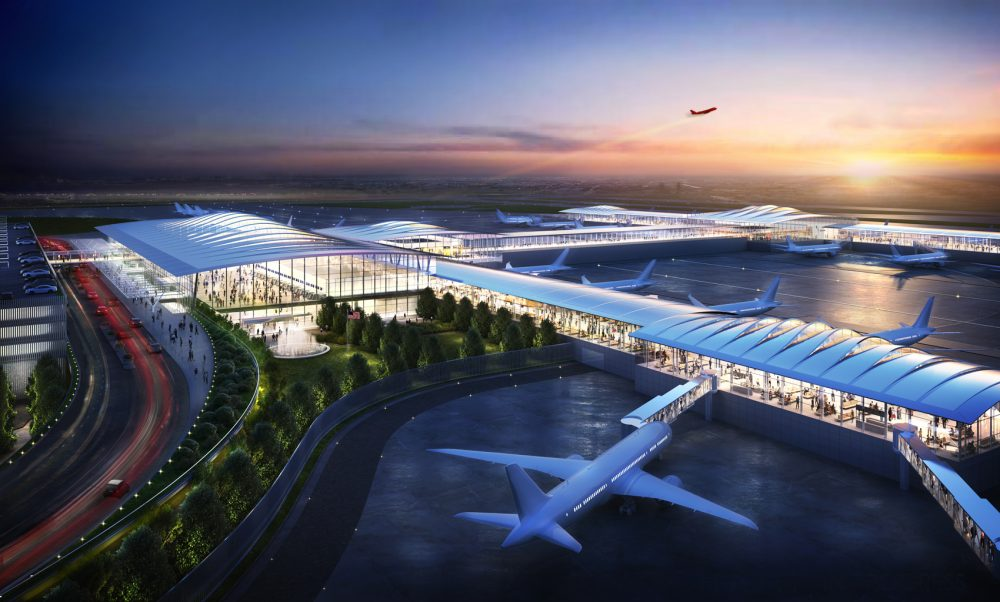 A rendering of the proposed single-terminal Kansas City International Airport. (Courtesy Skidmore Owings & Merrill)