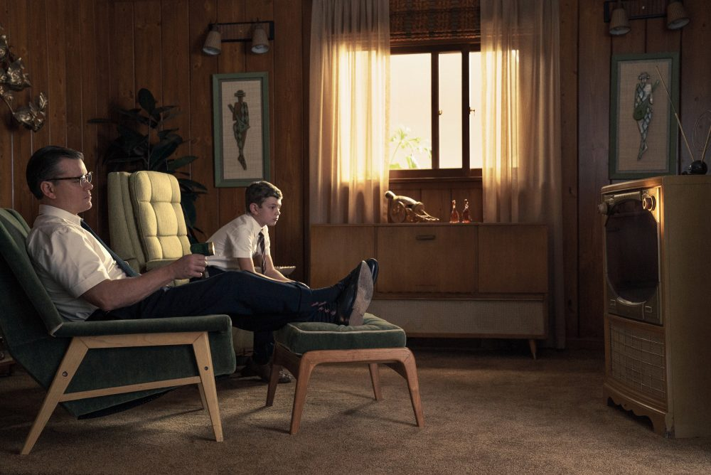 "Matt Damon as Gardner and Noah Jupe as Nicky in ""Suburbicon."" (Courtesy Paramount Pictures)"