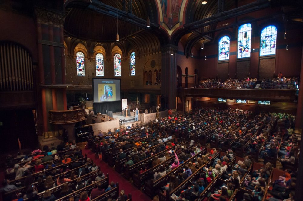 The crowd inside Old South Church for a previous Boston Book Festival event. (Courtesy Boston Book Festival)
