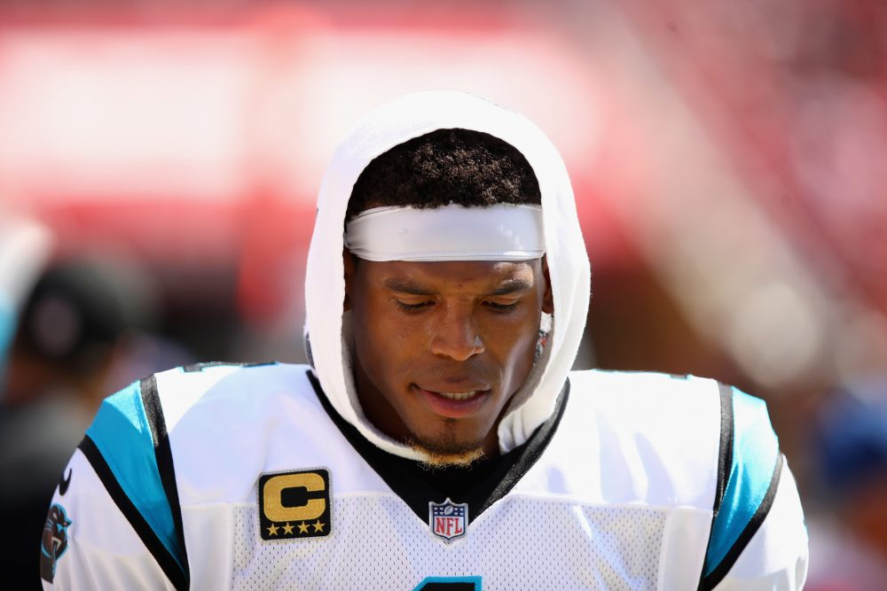 Cam Newton of the Carolina Panthers has had a lot to think about since his remarks to reporter Jourdan Rodrigue.  (Ezra Shaw/Getty Images)