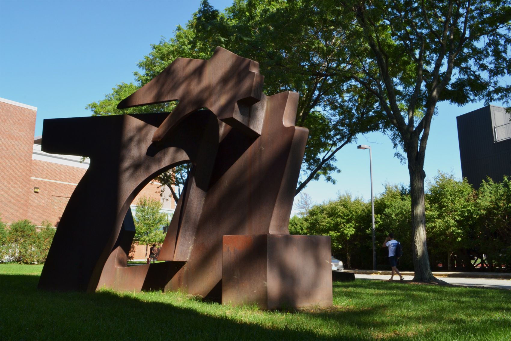 This 1971 sculpture by Richard Howard Hunt honors the composer T.J. Anderson, who chaired the Tufts University music department. It is one stop on the Tufts African American Freedom Trail. (Alexa Vazquez/WBUR)