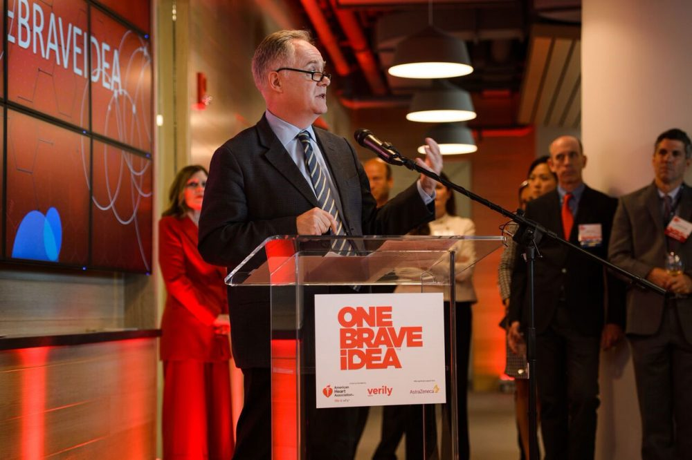 Dr. Calum MacRae speaks at the Boston opening of the One Brave Idea™ Science Innovation Center. (Courtesy)