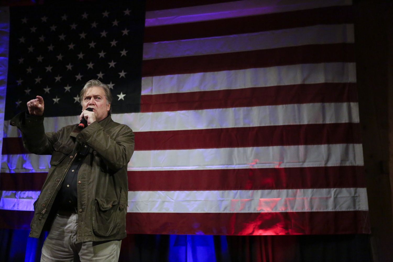 Former White House strategist Steve Bannon speaks at a rally for Roy Moore Monday Sept. 25 2017 in Fairhope Ala