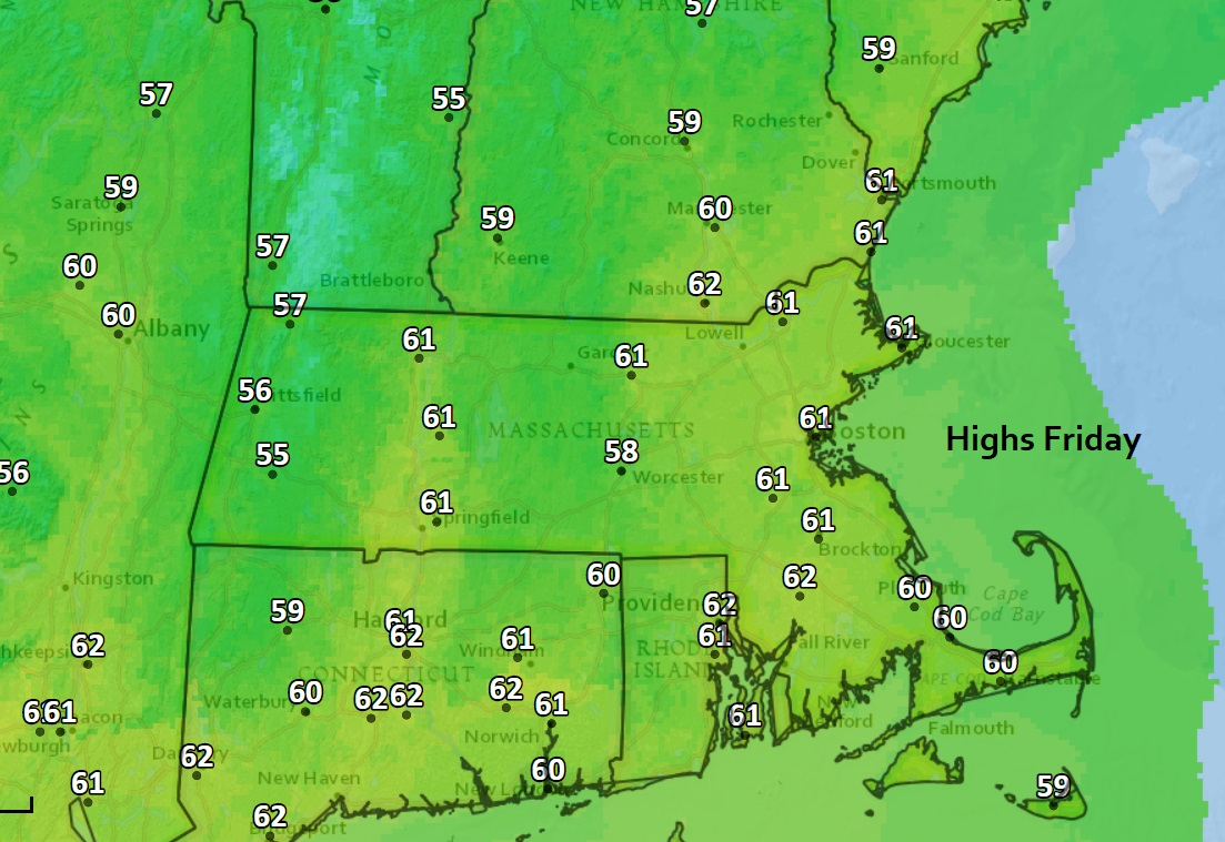 Temperatures will reach near 60 Friday afternoon and be a few degrees warmer Saturday. (Dave Epstein/WBUR)