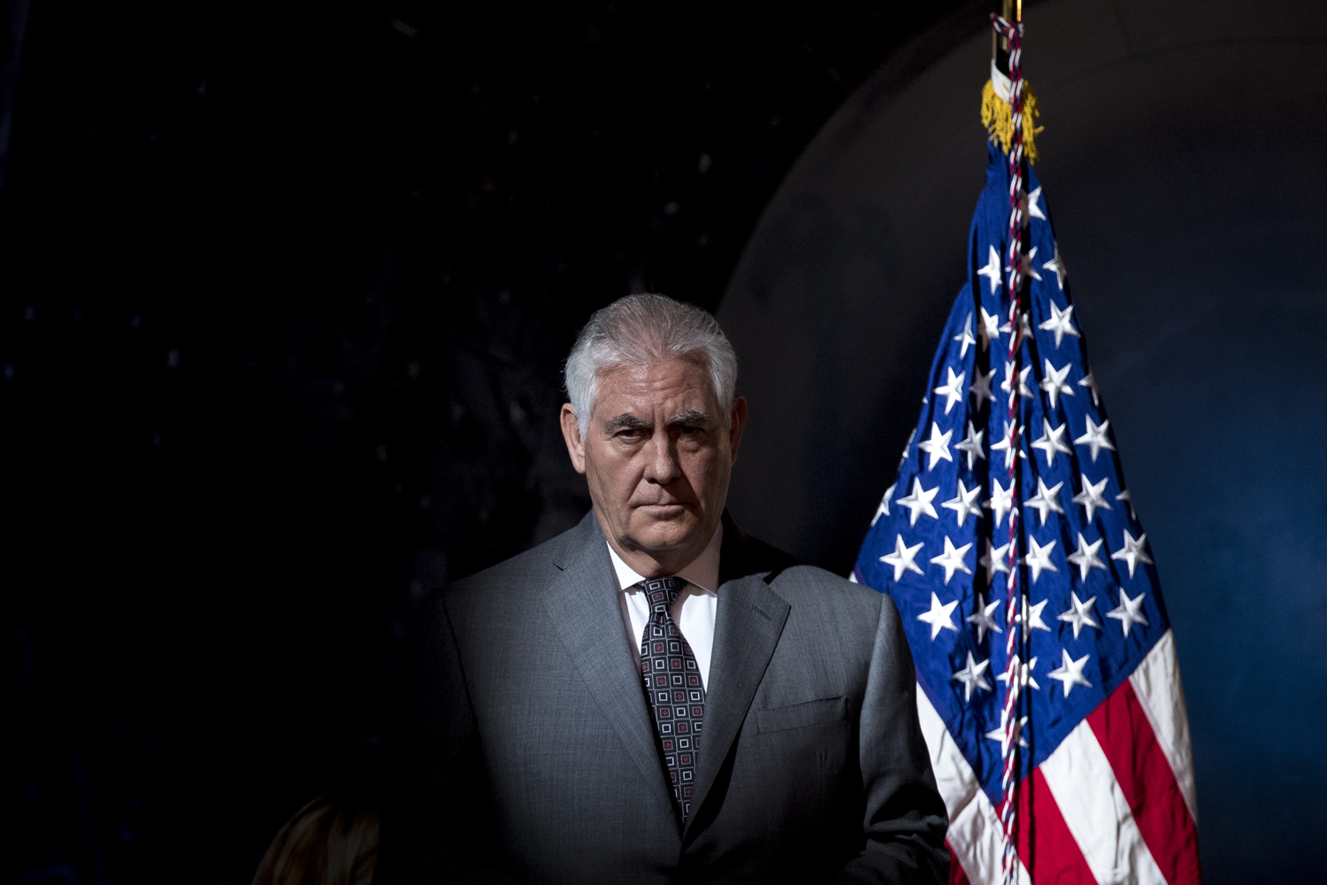Secretary of State Rex Tillerson arrives for the first meeting of the National Space Council first meeting at the Steven F. Udvar-Hazy Center, Thursday, Oct. 5, 2017 in Chantilly, Va. (Andrew Harnik/AP)