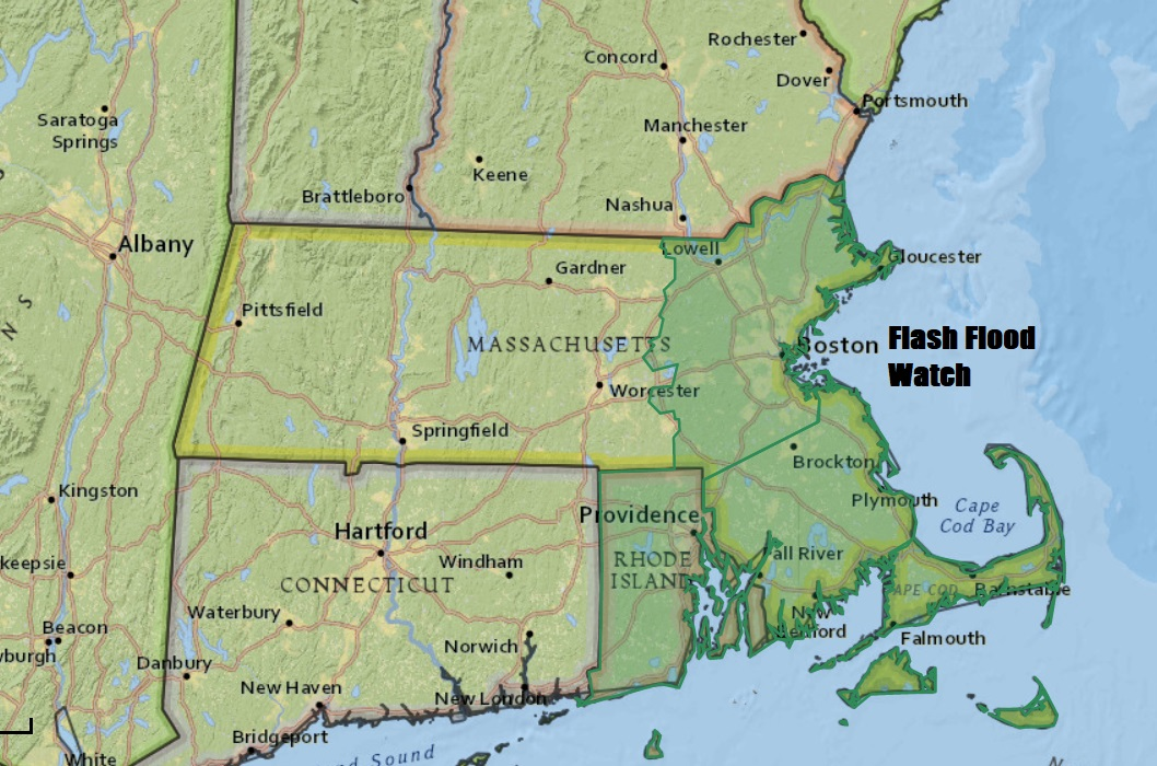 A flood watch was posted for eastern areas Monday morning. (Dave Epstein/WBUR)