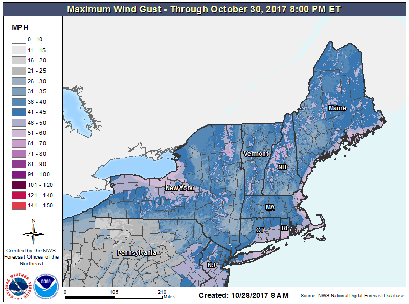 Look for very strong winds Sunday night and Monday. (Courtesy NOAA)