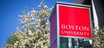A Boston University sign on Commonwealth Ave. (Robin Lubbock/WBUR)
