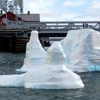 "Gianna Stewart's ""Iceberg"" during its launch into Boston's Fort Point Channel. (Courtesy Robert Gilliam)"