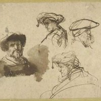 "Rembrandt's ""Four Studies of Male Heads,"" drawn around 1636, from the Maida and George Abrams Collection. (Courtesy Harvard Art Museums)"