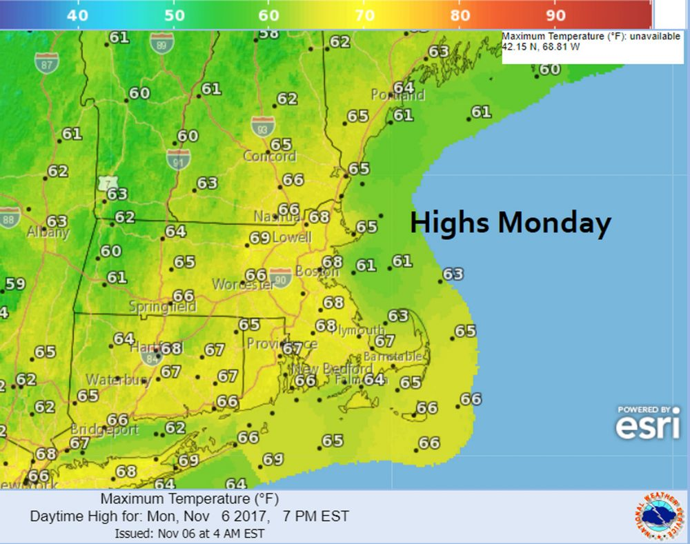 Monday's highs will be unseasonably warm. (Dave Epstein/WBUR)
