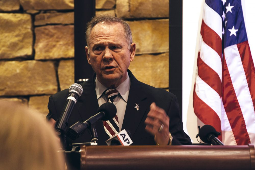Republican candidate for U.S. Senate Roy Moore speaks during a mid-Alabama Republican Club's Veterans Day event on Nov. 11, 2017 in Vestavia Hills, Ala. (Wes Frazer/Getty Images)
