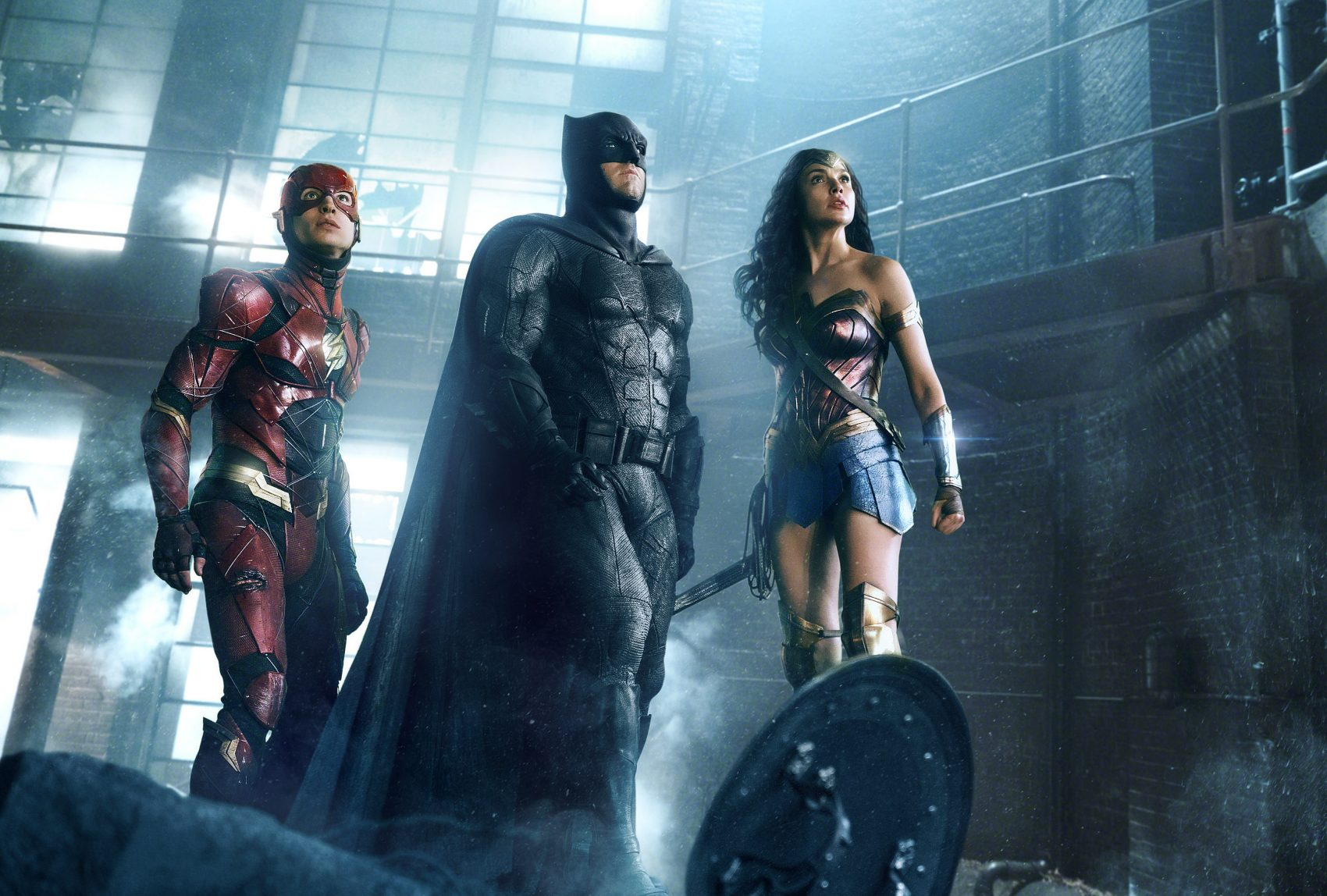 "Ezra Miller as The Flash, Ben Affleck as Batman and Gal Gadot as Wonder Woman in ""Justice League."" (Courtesy Warner Bros./DC Comics)"