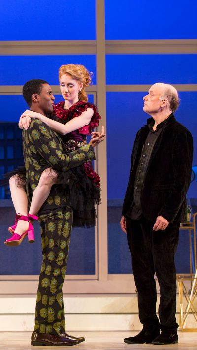 "Gabriel Brown as Valère, Sarah Oakes Muirhead as Mariane and Frank Wood as Orgon in ""Tartuffe."" (Courtesy T. Charles Erickson/Huntington Theatre Company)"