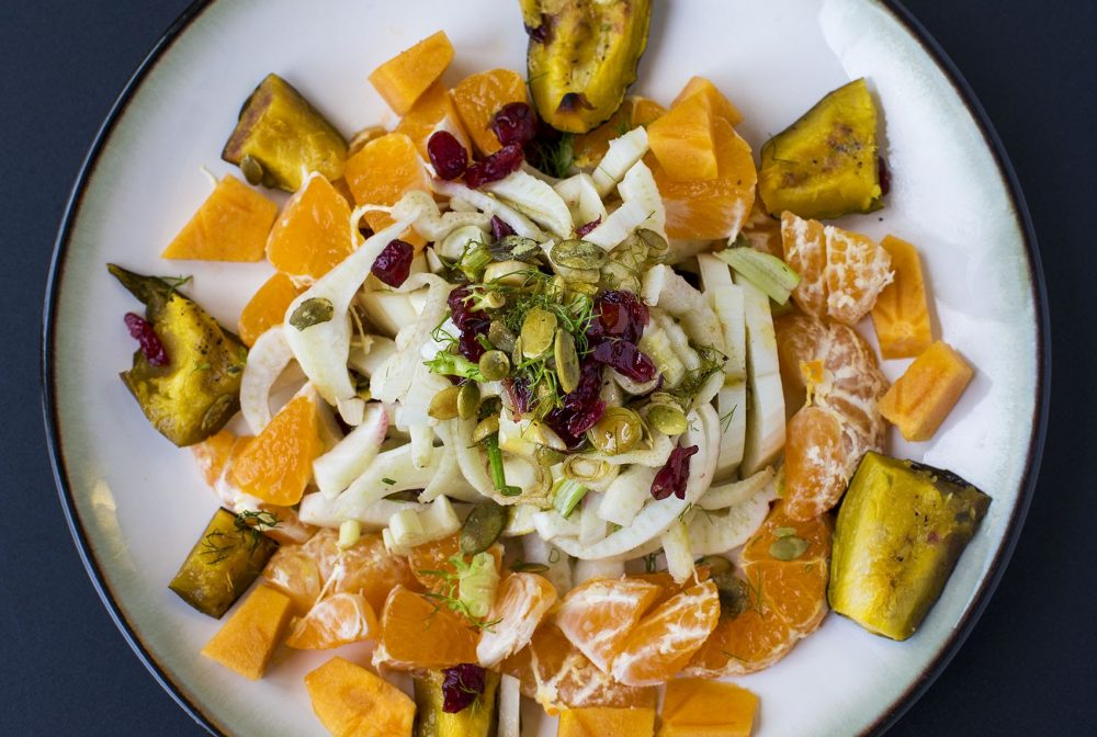 Kathy's fennel, orange and squash salad. (Jesse Costa/WBUR)