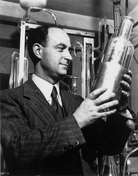 Enrico Fermi, a professor of physics at the University of Chicago and 1938 Nobel Prize winner in physics. Fermi led the team of scientists which succeeded in obtaining the first controlled, self-sustaining nuclear chain reaction on Dec. 2, 1942. The experiment ultimately led to the development of the atomic bomb. (Courtesy of Argonne National Laboratory)