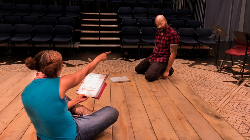 Actors Patrice Jean-Baptiste and Maurice Emmanuel Parent rehearse. (Courtesy Front Porch Arts Collective)