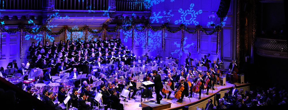 A Boston Pops holiday concert performance at Symphony Hall. (Courtesy The Boston Pops)