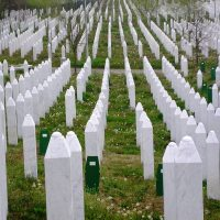 Rows of graves in the Srebrenica–Potočari Memorial and Cemetery for the Victims of the 1995 Genocide. (Susan E. Reed for WBUR)