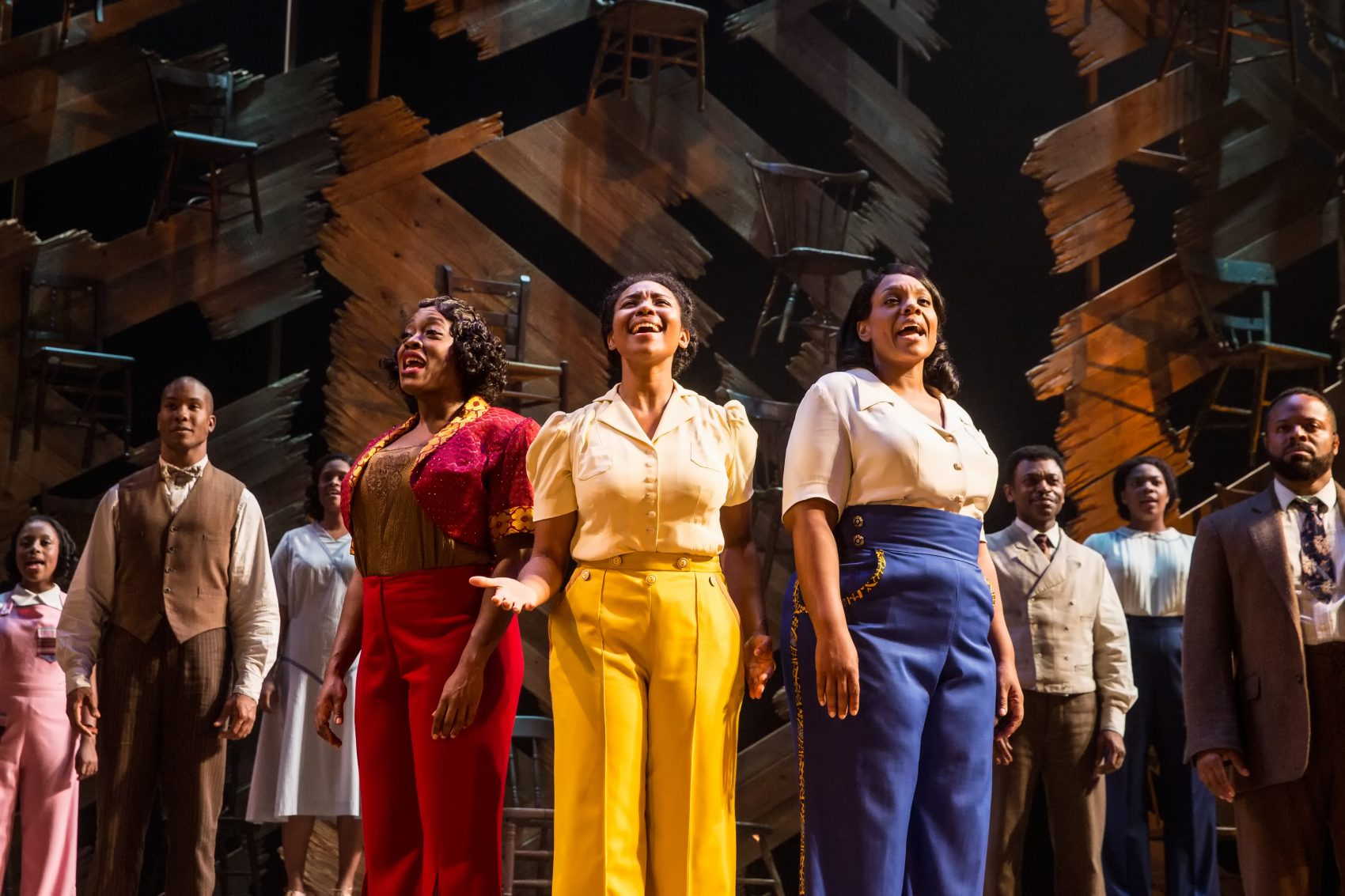 Carla R. Stewart, Adrianna Hicks, Carrie Compere and the ensemble. (Courtesy Matthew Murphy/Boch Center)