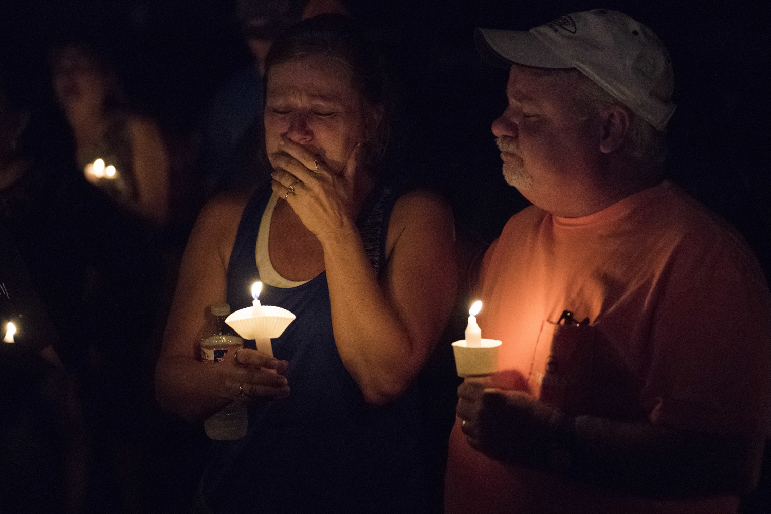 Mourners participate in a candlelight vigil for the victims of a fatal shooting at the First Baptist Church of Sutherland Springs (Darren Abate/AP)