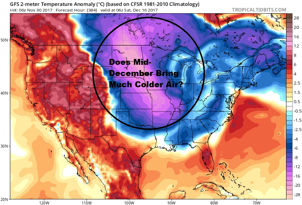 The first part of December is likely to feature temperatures around or above average, but it may turn much colder the second part of the month. (Courtesy Tropical Tidbits)weatew