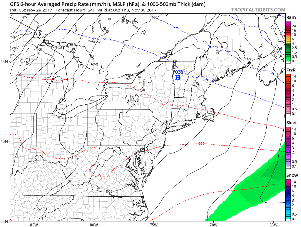High pressure brings dry and sunny weather Thursday, but it's chilly. (Courtesy Tropical Tidbits)