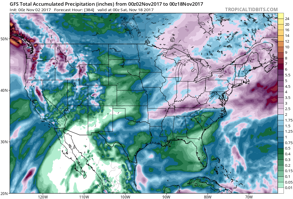 Several shower and rain opportunities are in the forecast over the next two weeks leaving adequate rainfall. (Courtesy Tropical Tidbits)