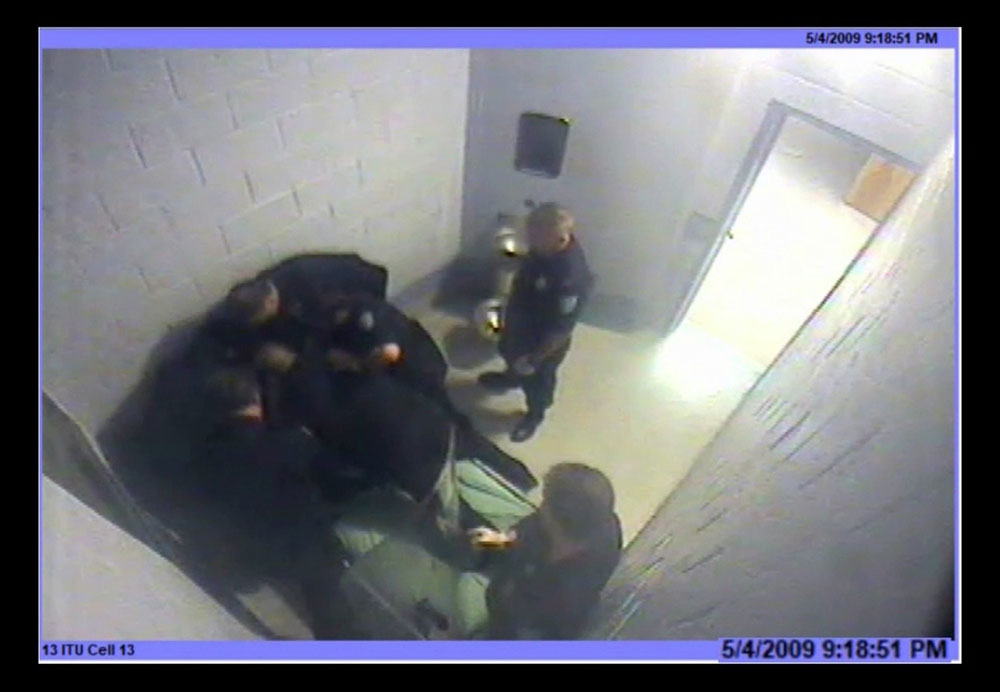 This screenshot from 2009 surveillance video shows moments before the death of Joshua Messier, a patient at Bridgewater State Hospital.