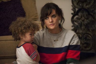 "Frankie Shaw as Bridgette Bird, Alexandra and Anna Reimer as Larry in a still from the Showtime series ""SMILF."" (Courtesy Lacey Terrell/Showtime)"