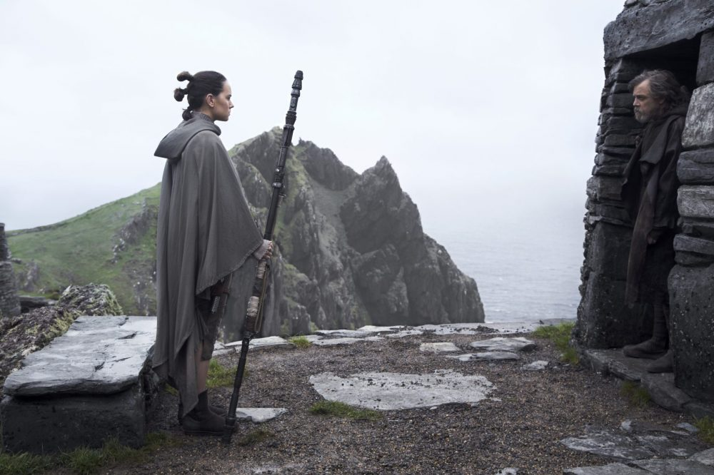 "Rey (Daisy Ridley) and Luke Skywalker (Mark Hamill) in ""Star Wars: The Last Jedi."" (Courtesy Jonathan Olley/Lucasfilm)"