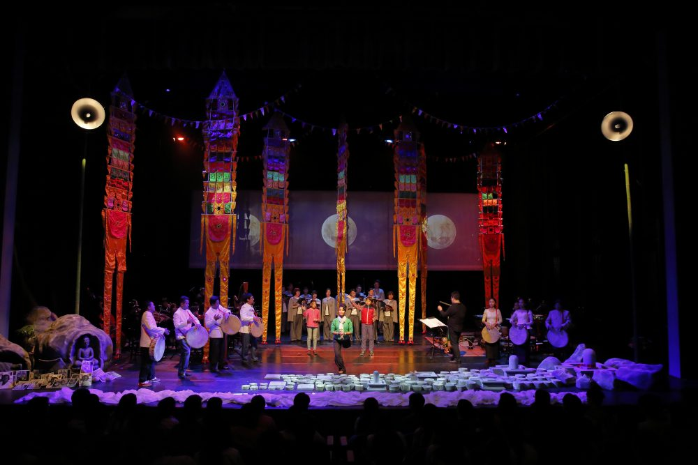 "The multimedia performance of ""Bangsokol: A Requiem for Cambodia."" (Courtesy Tey Tat Keng/ArtsEmerson)"