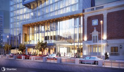 A rendering of the proposed expansion of the building that houses the Huntington. (Courtesy Stantec Architecture)