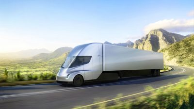 Tesla's all-electric Semi truck. (Courtesy Tesla Motors)