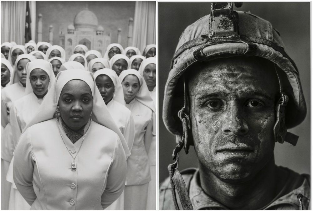 "Gordon Parks' photograph of Ethel Shariff in Chicago in 1963 and Louie Palu's photograph of U.S. Marine Gysgt. Carlos ""OJ"" Orjuela, age 31, in Garmsir, Helmand, 