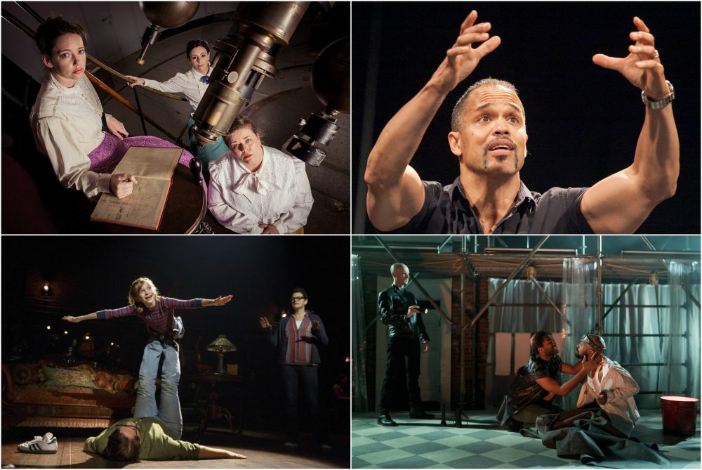 "Scenes from ""Silent Sky,"" ""American Moor,"" ""Fun Home"" and ""Edward II."" (Courtesy of the theater companies)"