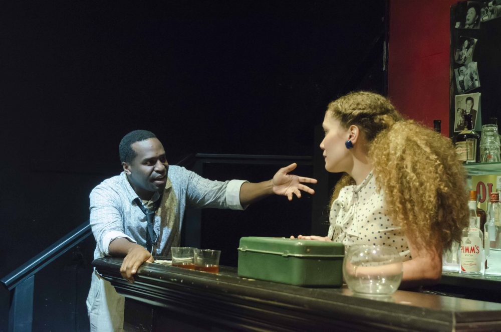 "Omar Robinson and Evelyn Howe in Boston Playwrights' Theatre's ""Lost Tempo."" (Courtesy Kalman Zabarsky/BPT)"