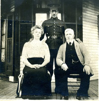 Joseph Barss (center) was raised to hate the United States. Here he's pictured with his father, John, and his mother, Elizabeth. (Courtesy Barss Family)