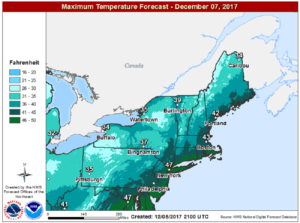 Temperatures will be seasonably cold Thursday. (Courtesy NOAA)