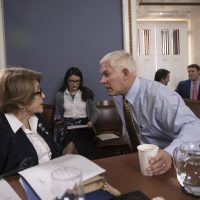 House Rules Committee Chairman Pete Sessions, R-Texas, center, confers with Rep. Louise Slaughter, D-N.Y., the top Democrat, as the panel meets on Capitol Hill in Washington, Thursday, Dec. 21, 2017. (J. Scott Applewhite/AP)