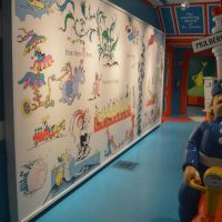 The new mural in the Dr. Seuss museum in Springfield. (Sean Teehan/NEPR)