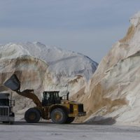 Road salt beingloaded into trucks at Eastern Minerals Inc. in Chelsea, Mass. (Bill Sikes/AP)