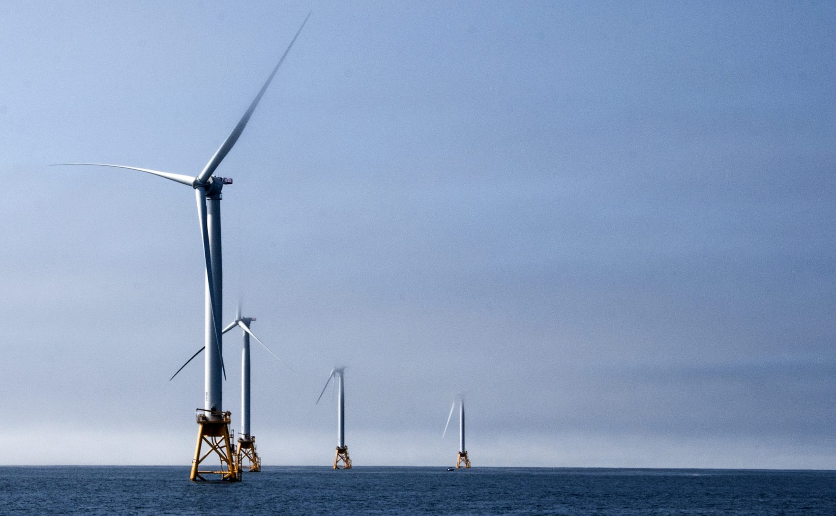 A wind farm off Block Island, off the coast of Rhode Island, in America (Chris Bentley for WBUR)