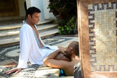 "Ricky Martin, left, as Antonio D'Amico and Edgar Ramirez, right, as Gianni Versace in ""American Crime Story: The Assassination of Gianni Versace."" (Courtesy Jeff Daly/FX)"