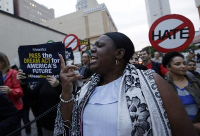 Protestors march in support of Deferred Action for Childhood Arrivals (DACA) and Temporary Protected Status (TPS) programs for immigrants, Wednesday, Jan. 17, 2018, in Miami. (AP Photo/Lynne Sladky)