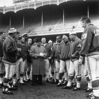 There were no ropes between the Colts and the people of Baltimore, sports writer Ron Borges says. Here the Colts are pictured with head coach Weeb Ewbank in 1958. (AP Photo)