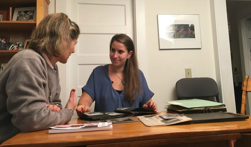 Julie Lindahl and Rachael Cerrotti, pictured in Wellesley, Mass., Oct. 2017. (WBUR)