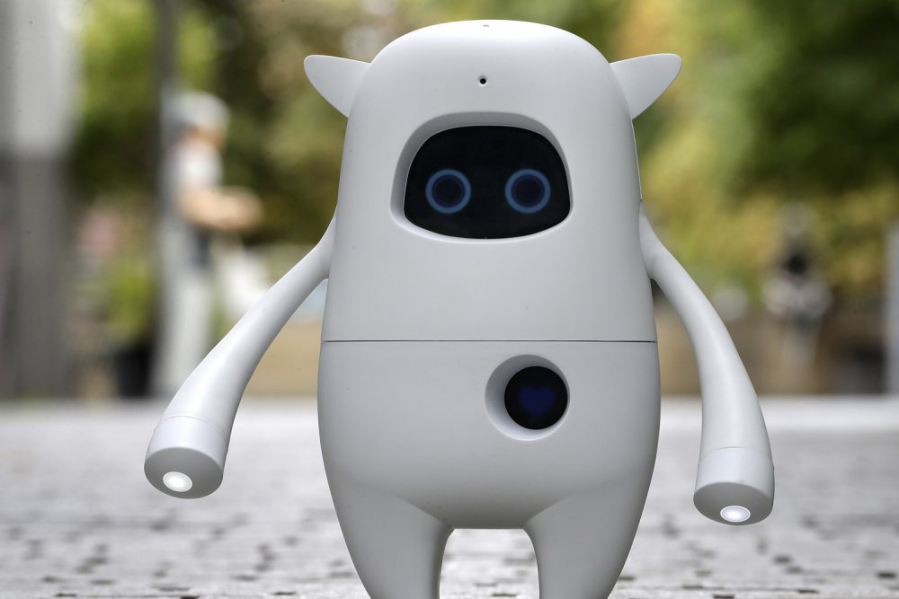 A 'Musio' AI (artificial intelligence) social robot is pictured on a street during its Germany presentation in Berlin, Germany, Thursday, Sept. 7, 2017. Musio is a communication robot capable to interact with humans. (AP Photo/Michael Sohn)