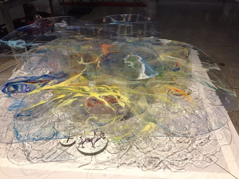"A photo of Lynda Cutrell's ""The spectrum, we are all on it somewhere."" The sculpture is made of Plexiglas and the different colors represent different symptoms of mental illness found in the U.S. population. (Courtesy of Cutrell)"