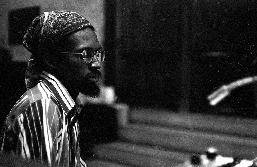 "Rehearsal of Julius Eastman's piece ""Trumpet"" at Buffalo Unitarian Church in 1972. (Ron Hammond)"